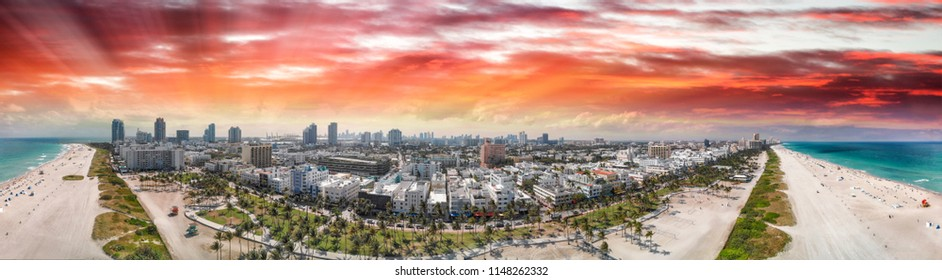 Panoramic aerial view of Miami Beach coastline and skyline, Florida.