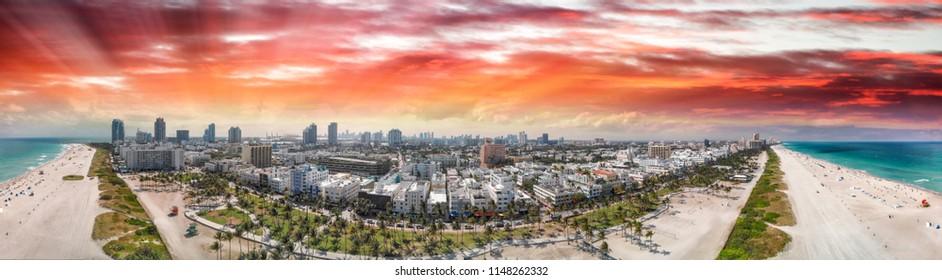 Panoramic aerial view of Miami Beach coastline and skyline, Florida.