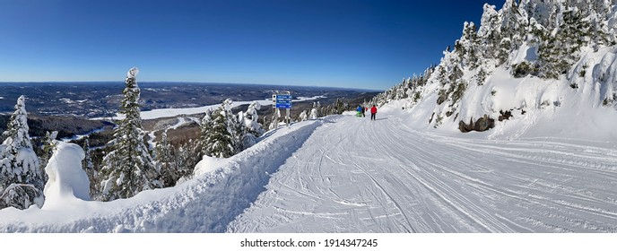 Panoramic aerial view of Mont and Lake Tremblant in winter, Quebec, Canada