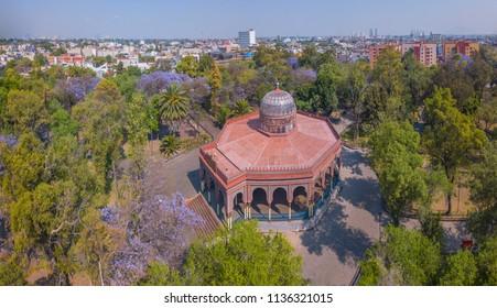 Panoramic aerial view of the Morisco Kiosk of Santa María la Ribera on a sunny day