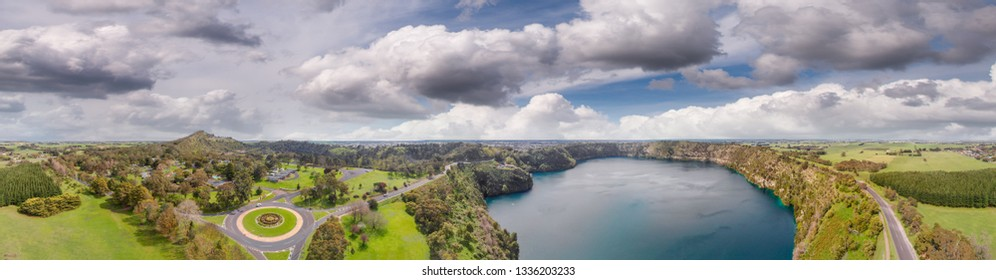 Panoramic aerial view of Mount Gambier Blue Lake, South Australia.