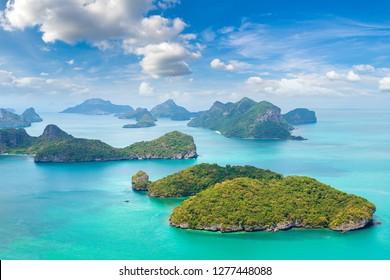 Panoramic aerial view of Mu Ko Ang Thong National Park, Thailand in a summer day