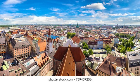 Panoramic aerial view of Munich, Germany in a beautiful summer day