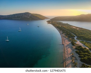 Panoramic aerial view of  Navarino bay near Pylos city. It is one of the best beaches in mediterranean Europe, beautiful lagoon near Voidokilia from a high point of view, Messinia, Greece