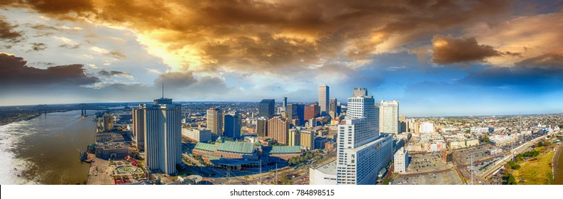 Panoramic aerial view of New Orleans on a stormy day.