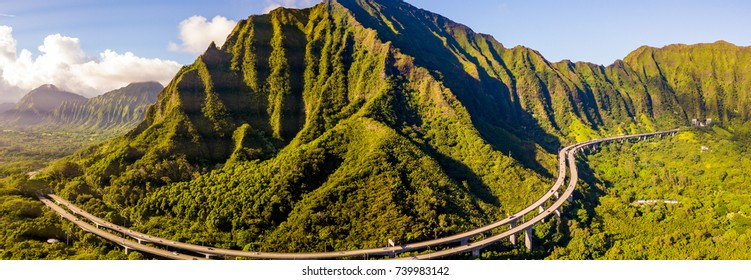 Panoramic aerial view of the Oahu island with the world famous Haiku stairs or the stairs to heaven. Ho'omaluhia Botanical Garden in Kaneohe