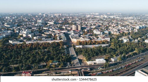 Panoramic aerial view of Odessa city with Istanbul Park and Potemkin Stairs, Ukraine