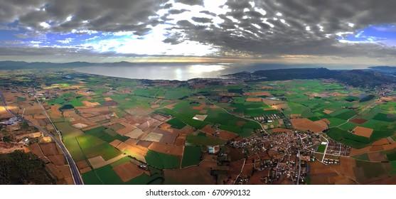Panoramic aerial view og Roses bay, Girona, Catalonia