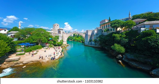 Panoramic aerial view of the Old Bridge (Stari Most), in Mostar, Bosnia and Herzegovina