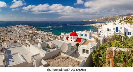 Panoramic aerial view of Old Port of Mykonos City, Chora, on the island Mykonos, The island of the winds, Greece