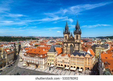 Panoramic aerial view of Old Town square in Prague in a beautiful summer day, Czech Republic