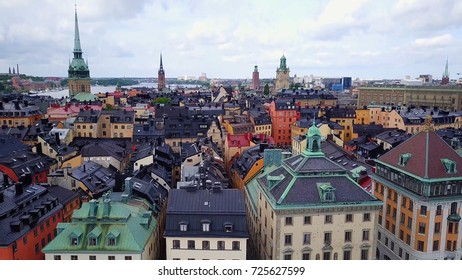 Panoramic aerial view of The Old Town , Gamla Stan , Stockholm , Sweden.