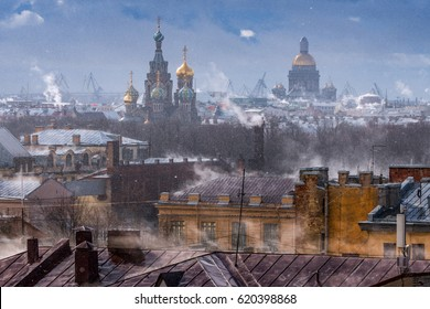 panoramic aerial view on cityscape Saint-Petersburg, Russia