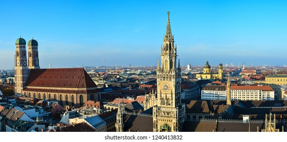 Panoramic aerial view on Marienplatz, town hall and Frauenkirche (Cathedral of Our Dear Lady) in Munich, Germany