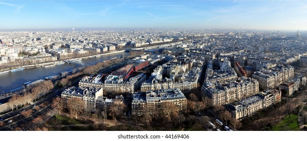 Panoramic aerial view on Paris and Seine, from the Eiffel Tower