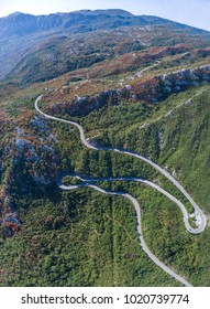 Panoramic aerial view on Road serpentine on the road from Petrovac to the Skadar Lake. Montenegro.