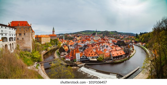 Panoramic aerial view over the old Town of Cesky Krumlov, Czech Republic. UNESCO World Heritage Site.