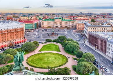 Panoramic aerial view over St. Petersburg, Russia, from the dome of St. Isaac's Cathedral