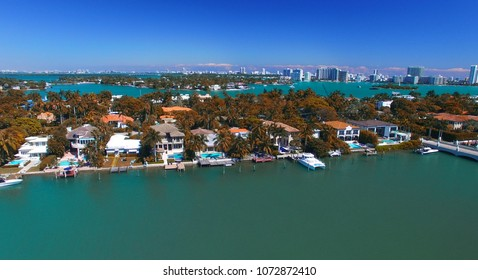 Panoramic aerial view of Palm Island, Miami - Florida.