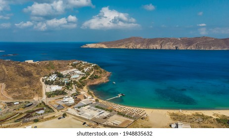 Panoramic aerial view of Panormos beach at the island of Mykonos, Cyclades, Greece.