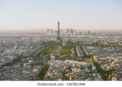 Panoramic aerial view of Paris and Eiffel Tower in golden hour