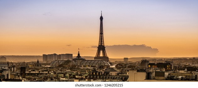 Panoramic aerial view of Paris, France, with the Eiffel Tower and the rooftop of the Grand Palais at sunset.