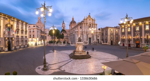 Panoramic aerial view of Piazza Duomo in Catania with the Cathedral of Santa Agatha and Liotru, symbol of Catania, at night, Sicily,
