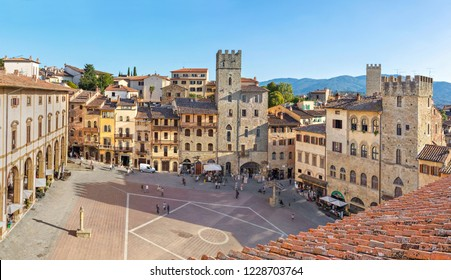 Panoramic aerial view of Piazza Grande square in Arezzo, Tuscany, Italy