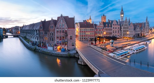 Panoramic aerial view of picturesque medieval buildings on the quay Graslei and Leie river at Ghent town in the morning, Belgium