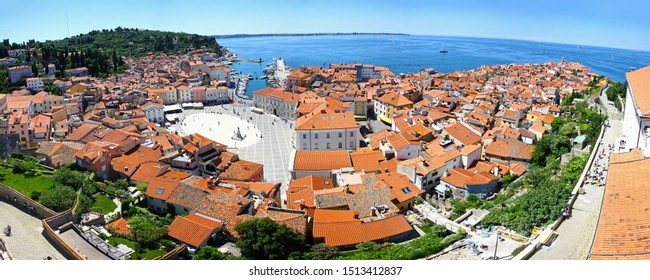 Panoramic aerial view of Piran old town and Gulf of Piran on Adriatic Sea, Slovenia. One of the three major towns of Slovenian Istria. Much medieval architecture with narrow streets and compact houses