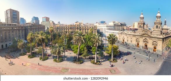 Panoramic aerial view of Plaza de Armas Square and Santiago Metropolitan Cathedral -  Santiago, Chile
