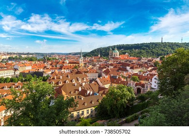 Panoramic aerial view of Prague in a beautiful summer day, Czech Republic
