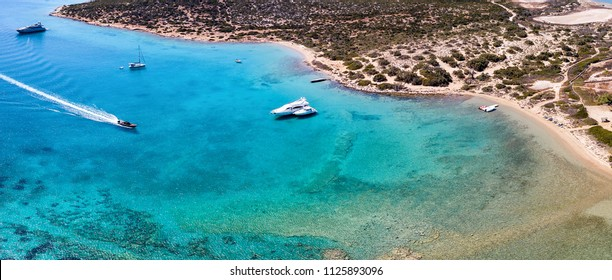 Panoramic aerial view of the pristine waters of Lageri Beach on the island of Paros, Cyclades, Greece