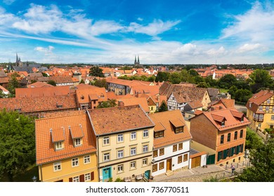 Panoramic aerial view of Quedlinburg in a beautiful summer day, Germany