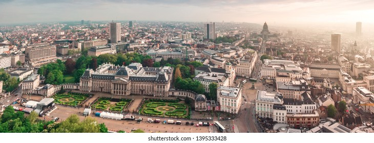 Panoramic aerial view of the Royal Palace Brussels, Belgium ( Palais de Bruxelles ). Panorama of the city with the main Sight, the Palace of Justice, Regens street