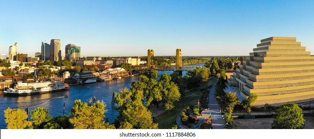 Panoramic Aerial View of Sacramento Downtown, river and tower bridge.
