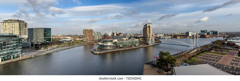 Panoramic aerial view of Salford Quays , Manchester, UK