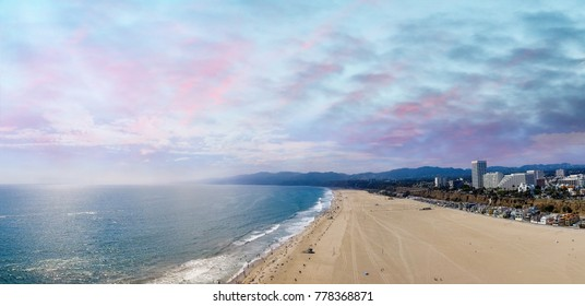 Panoramic aerial view of Santa Monica Beach at sunset, CA.