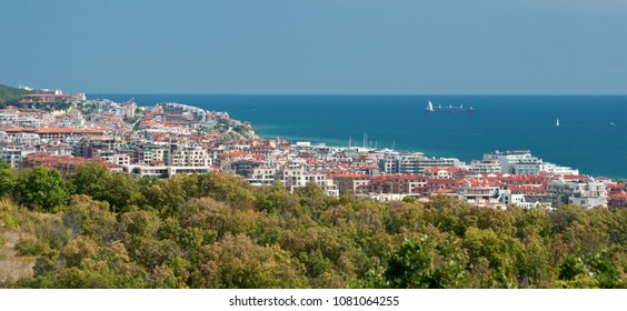 Panoramic aerial view of seaside resort, blue sea on the horizon. St Vlas Sveti Vlas town in Burgas bay, near Sunny beach Slanchev Bryag, Nessebar and Burgas, Bulgaria, South Black sea coast. Tourism