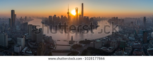 Panoramic Aerial View of Shanghai Skyline at Sunrise. China.