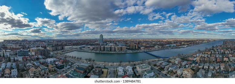 Panoramic aerial view of the Sheepshead Bay neighborhood of Brooklyn, New York.