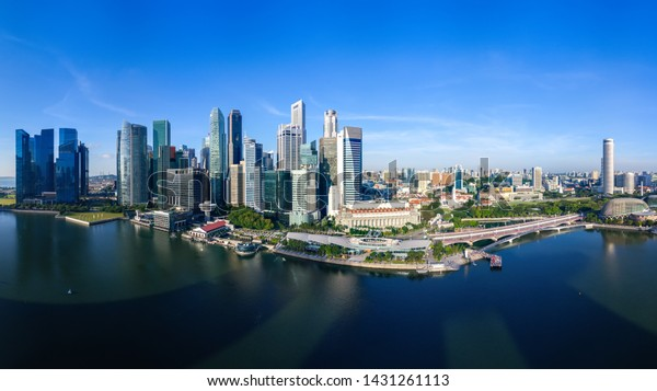 Panoramic Aerial view of Singapore cityscape in the morning