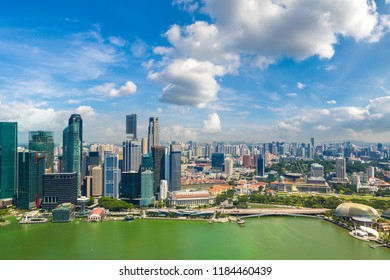 Panoramic aerial view of Singapore in a summer day