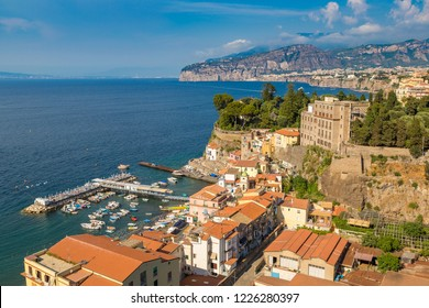 Panoramic aerial view of Sorrento, the Amalfi Coast in Italy in a beautiful summer day