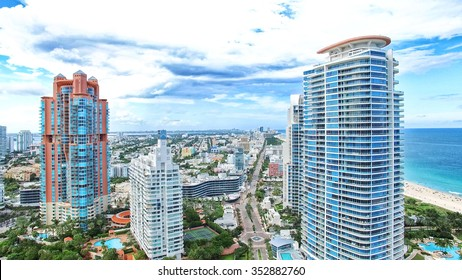 Panoramic aerial view of South Pointe Park in the South Beach area of Miami Beach.