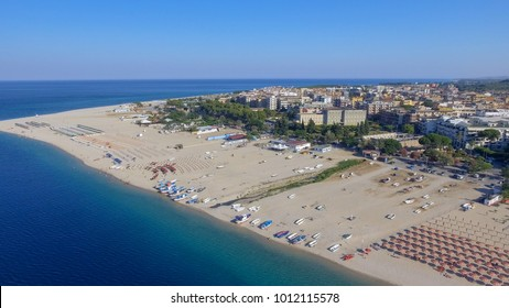 Panoramic aerial view of Soverato coastline and beaches in summer, Calabria - Italy.