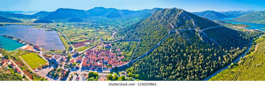 Panoramic aerial view of Ston historic walls and Peljesac peninsula, Dalmaria region of Croatia