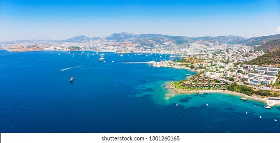 Panoramic aerial view of sunny Bodrum with resorts and beachfront villas, Turkey