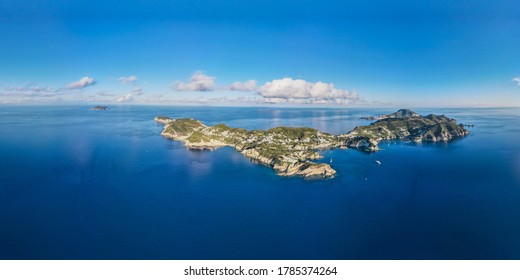 Panoramic aerial view at sunset of the beautiful island of Ponza