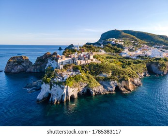 Panoramic aerial view at sunset of the harbour in the island of Ponza